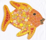 "Mosaik Set ""Gold-Fisch"" - 25x25 cm - SoftGlas, Drops, Nuggets usw."